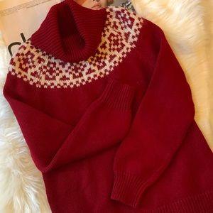 Talbots Fair Isle Red Turtleneck Sweater LP